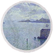 Sailing Boats In An Estuary Round Beach Towel