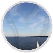 Sailing Charleston Harbor Round Beach Towel