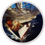 Sailing, Figurehead On The Prow Of A Round Beach Towel