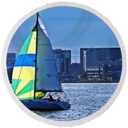 Sailing On Boston Harbor Round Beach Towel