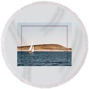 Sailing On Carter Lake Round Beach Towel