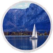 Sailing On Mondsee Lake Round Beach Towel by Lauri Novak