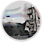 Sailing Ship Round Beach Towel
