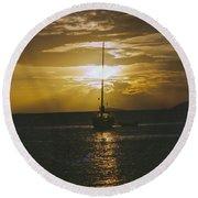 Sailing Sunset Round Beach Towel