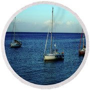 Sailing The Blue Waters Of Greece Round Beach Towel