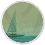 Sailing The Coast Round Beach Towel