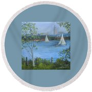 Sailing The Delaware Round Beach Towel