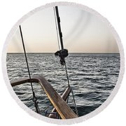 Sailing The Seas Round Beach Towel