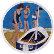 Sailing The Wildflower Round Beach Towel