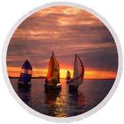 Sailing Yachts Round Beach Towel
