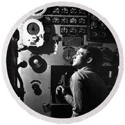 Sailor At Work In The Electric Engine Round Beach Towel