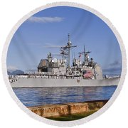Sailors Aboard The Guided-missile Round Beach Towel