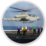 Sailors And Marines Watch An Ah-1z Round Beach Towel