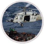 Sailors Attach Pallets Of Supplies Round Beach Towel