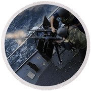 Sailors Fire A Dual-mounted M240 Round Beach Towel