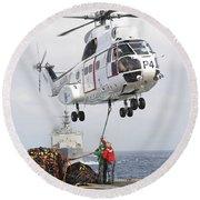 Sailors Hook Up A Pole Pendant Round Beach Towel by Stocktrek Images