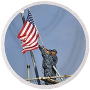 Sailors Lower The National Ensign Round Beach Towel