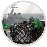 Sailors Move Supplies On The Flight Round Beach Towel