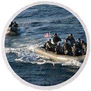 Sailors Participate In A Visit, Board Round Beach Towel