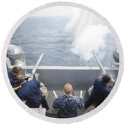 Sailors Perform A 21-gun Salute Aboard Round Beach Towel by Stocktrek Images