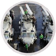 Sailors Perform Maintenance On Mh-60s Round Beach Towel