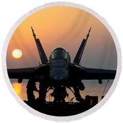 Sailors Prepare An Fa-18c Hornet Round Beach Towel