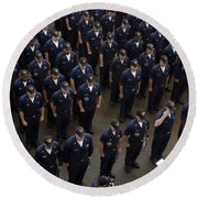 Sailors Stand At Attention During An Round Beach Towel