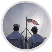Sailors Stand By To Lower The Ensign Round Beach Towel