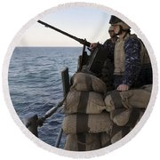 Sailors Stand Small Caliber Attack Team Round Beach Towel