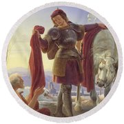 Saint Martin And The Beggar Round Beach Towel