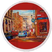 Saint Paul Street  Montreal Round Beach Towel