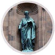 Saint Peter Statue - Historic Philadelphia Basilica Round Beach Towel