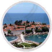 Saint Stephen In Montenegro Round Beach Towel