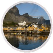 Sakrisoy Fishermen's Village Round Beach Towel