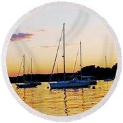 Salem Harbor Amber Sunset Round Beach Towel