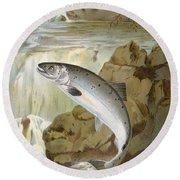Salmon, C1900 Round Beach Towel