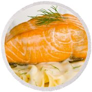 Salmon Steak On Pasta Decorated With Dill Closeup Round Beach Towel