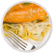 Salmon Steak On Pasta Decorated With Dill Round Beach Towel