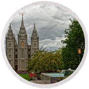 Salt Lake City Temple Grounds Round Beach Towel