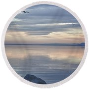 Salton Sea Sunset Round Beach Towel