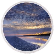 Same Night Five Fifty Two Pm Round Beach Towel