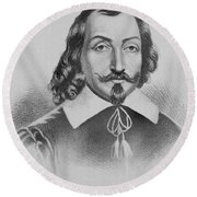 Samuel De Champlain Round Beach Towel by Photo Researchers