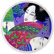 Samurai And Geisha Pillowing Round Beach Towel