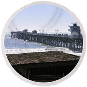 San Clemente Pier California Round Beach Towel