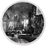 San Francisco Burning After 1906 Round Beach Towel
