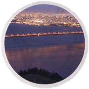 San Francisco Dusk Round Beach Towel