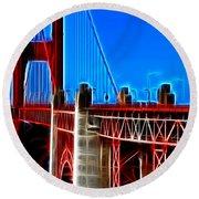 San Francisco Golden Gate Bridge Electrified Round Beach Towel