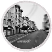 San Francisco Side Street-black And White Round Beach Towel