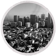 San Francisco Round Beach Towel by Valeria Donaldson
