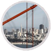 San Francisco Through The Cables Round Beach Towel